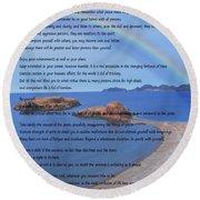 Desiderata On Beach Scene With Rainbow Round Beach Towel