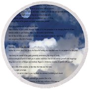 Desiderata On Sky Scene With Full Moon And Clouds Round Beach Towel