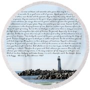 Desiderata Santa Cruz Lighthouse Round Beach Towel