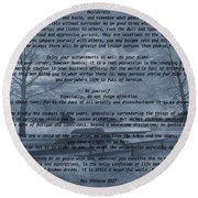 Desiderata Winter Scene Round Beach Towel