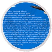 Desiderata With Bald Eagle Round Beach Towel