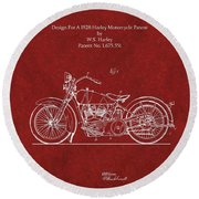 Original Design For A 1928 Harley Motorcycle Round Beach Towel
