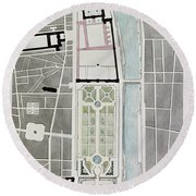 Design For Joining The Tuileries To The Louvre, 1808 Wc On Paper Round Beach Towel