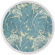 Design In Turquoise Round Beach Towel