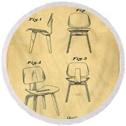 Designs For A Eames Chair Round Beach Towel by Edward Fielding