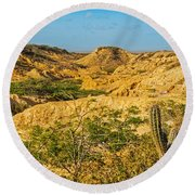 Desolate Desert Landscape Round Beach Towel