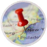 Destination To New York Round Beach Towel