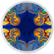 Destiny Unfolding Into An Abstract Pattern Round Beach Towel