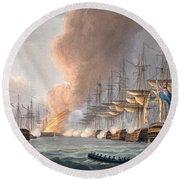 Destruction Of The Danish Fleet Round Beach Towel