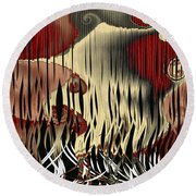 Destruction Of The Earth Abstract Round Beach Towel