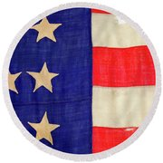 Detail Of A Civil War Flag In Drummer Round Beach Towel