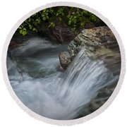 Detail Of A Small Water Fall In A Stream Round Beach Towel
