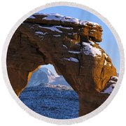 Detail Of Delicate Arch With Snow Arches National Park Utah Round Beach Towel