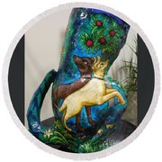Detail Of Hunt For The Unicorn On A Full Moon Round Beach Towel by Genevieve Esson