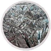 Detail Of Icelandic Glacier Round Beach Towel
