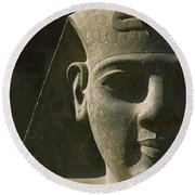 Detail Of Pharaoh Head At Entrance Round Beach Towel