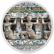 Detail Of Temple, Thailand Round Beach Towel