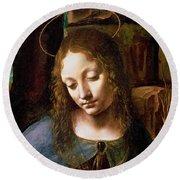 Detail Of The Head Of The Virgin Round Beach Towel by Leonardo Da Vinci