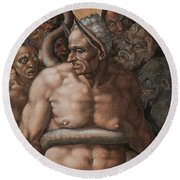 Detail Of The Last Judgment Round Beach Towel by Michelangelo