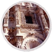 Detail Of The National Cathedral Of Guatemala Round Beach Towel