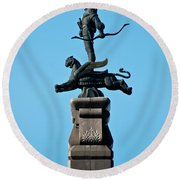 Detailed Images Of Statues In Almaty Round Beach Towel