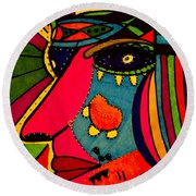 Determination - Face - Expression Round Beach Towel