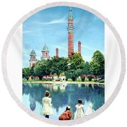 Detroit - Gladwin Waterworks Park - Jefferson Avenue At The Detroit River - 1905 Round Beach Towel