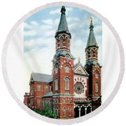 Detroit - St Mary Catholic Church - Monroe Avenue - 1910 Round Beach Towel