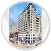Detroit - The Lafayette Building - Michigan Avenue Lafayette And Shelby Streets - 1924 Round Beach Towel