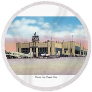 Detroit - City Airport - 1944 Round Beach Towel