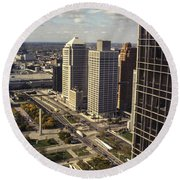 Detroit City Streets Michigan Round Beach Towel