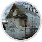Detroit Ice House Round Beach Towel
