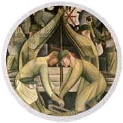 Detroit Industry  South Wall Round Beach Towel by Diego Rivera