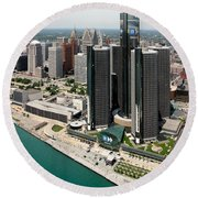 Detroit International Riverfront Round Beach Towel