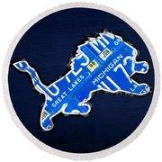 Detroit Lions Football Team Retro Logo License Plate Art Round Beach Towel