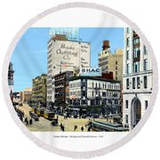 Detroit - Michigan And Griswold Avenues - 1910 Round Beach Towel