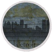Detroit Michigan City Skyline Silhouette Distressed On Worn Peeling Wood Round Beach Towel