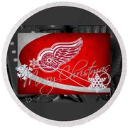 Detroit Red Wings Christmas Round Beach Towel