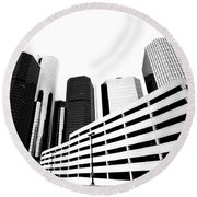 Detroit Ren Cen Round Beach Towel