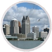 Detroit Riverfront Round Beach Towel
