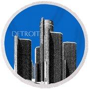 Detroit Skyline 1 - Blue Round Beach Towel