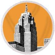 Detroit Skyline 2 - Orange Round Beach Towel
