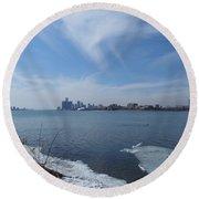 Detroit Skyline Round Beach Towel
