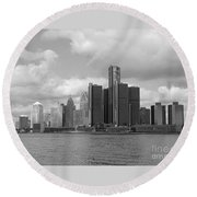 Detroit Skyscape Round Beach Towel