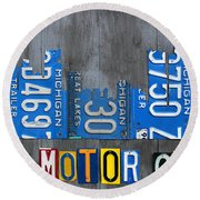 Detroit The Motor City Skyline License Plate Art On Gray Wood Boards  Round Beach Towel