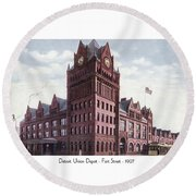 Detroit - Union Depot - Fort Street - 1907 Round Beach Towel