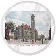 Detroit - United States Post Office - Fort Street - 1908 Round Beach Towel