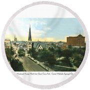 Detroit - Woodward Avenue North Grand Circus Park - Central Methodist Episcopal Church - 1920 Round Beach Towel