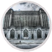 Detroit's Abandoned Michigan Central Train Station Depot Round Beach Towel