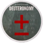 Deuteronomy Books Of The Bible Series Old Testament Minimal Poster Art Number 5 Round Beach Towel by Design Turnpike